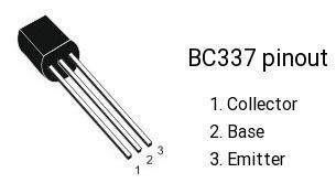 Транзистор BC-337 - розпіновка