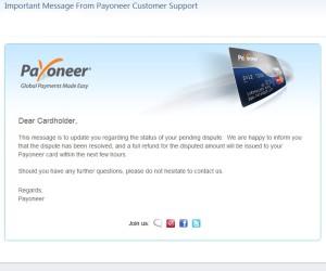 Письмо о возврате средств от payoneer.com
